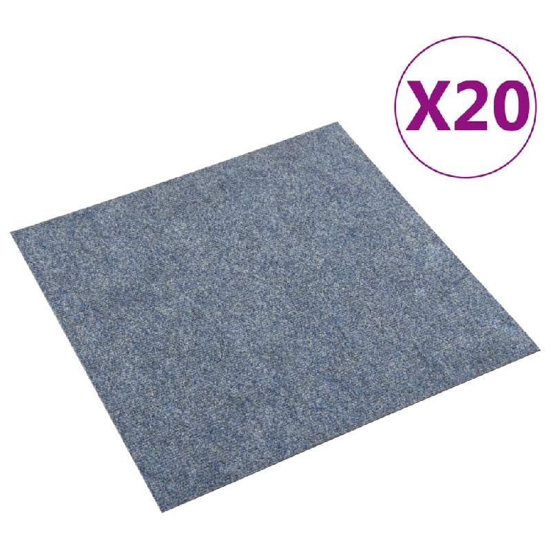 Vidaxl dalles de tapis de sol 20 pcs 5 m² bleu