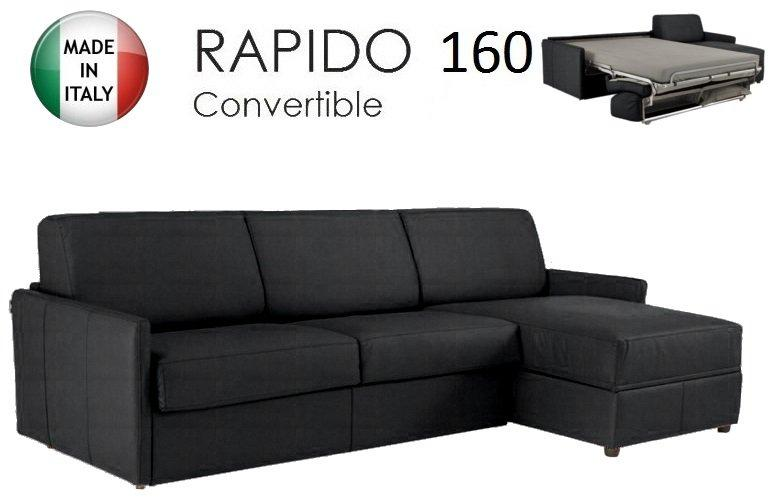 Canape d 39 angle sun convertible ouverture rapido 160cm tissu microfibre noir - Canape d angle convertible systeme rapido ...