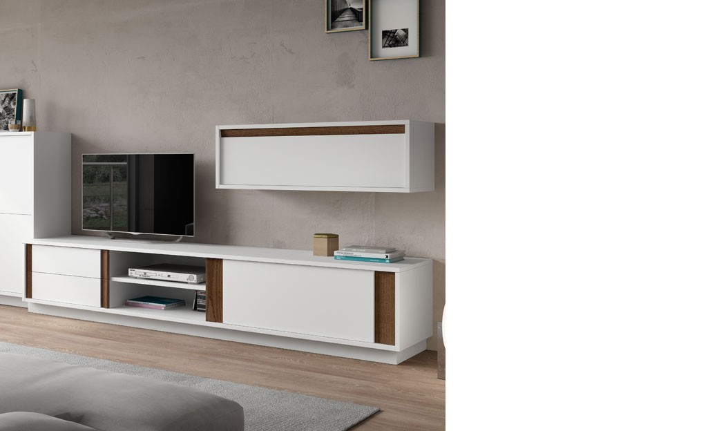 meuble tele design laque blanc mat et couleur bois fonce vardo. Black Bedroom Furniture Sets. Home Design Ideas