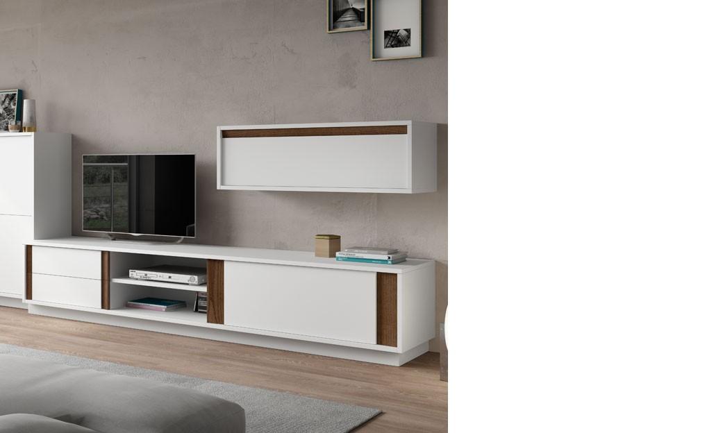 Meuble télé design laqué blanc mat et couleur bois foncé vardo