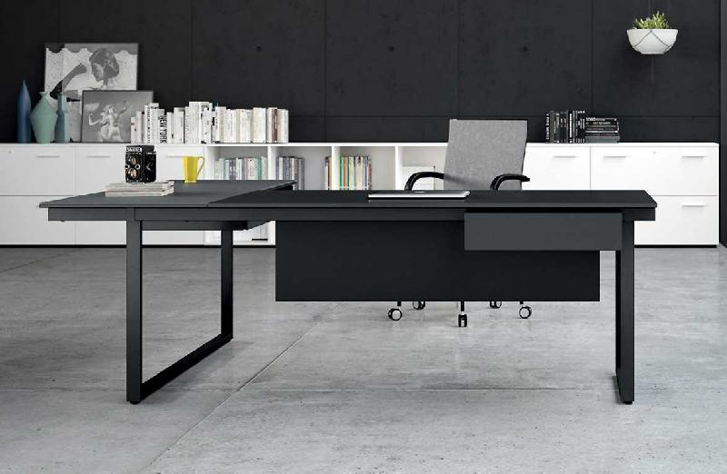 be 1 bureau individuel 160 cm avec retour en verre noir. Black Bedroom Furniture Sets. Home Design Ideas