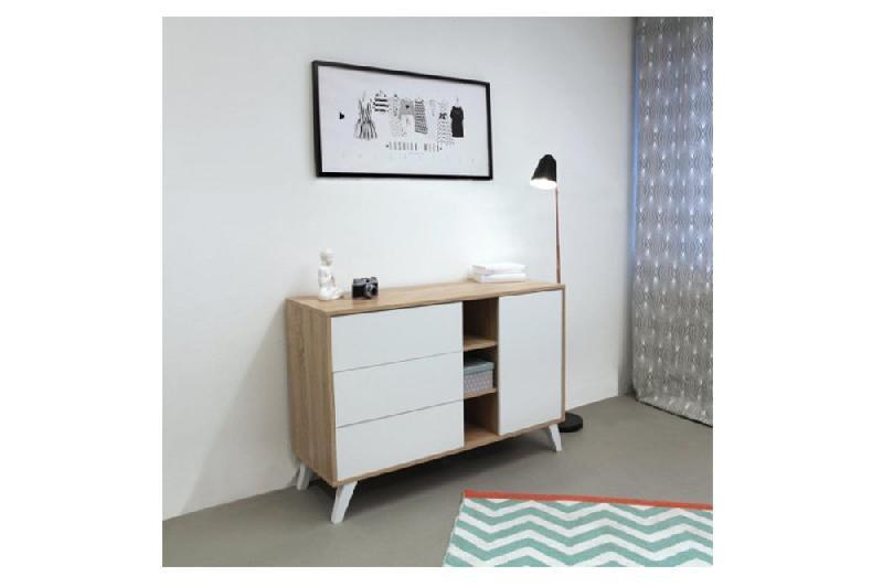 buffet design scandinave square 1 porte 3 tiroirs blanc comparer les prix de buffet design. Black Bedroom Furniture Sets. Home Design Ideas