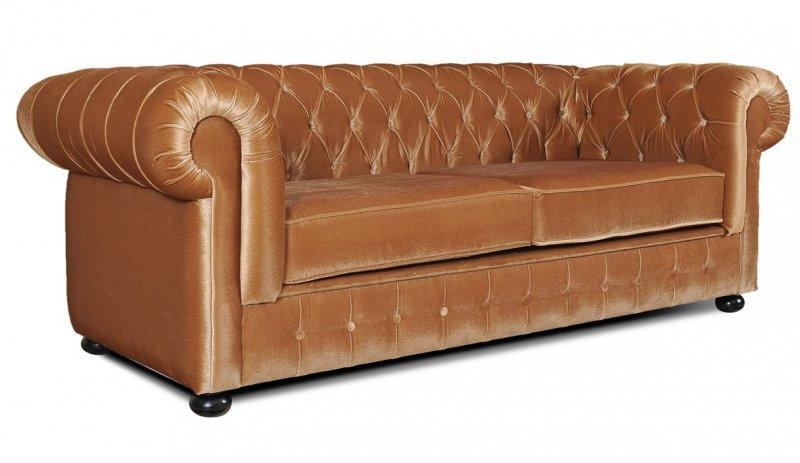 canape chesterfield royal 3 places velours or. Black Bedroom Furniture Sets. Home Design Ideas