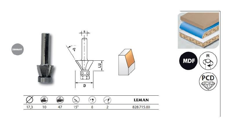 LEMAN - FRAISE D' AFFLEUREUSE DIAMANT PENTE 15° AVEC ROULEMENT Q.8 18X10X47 - 828.715.00