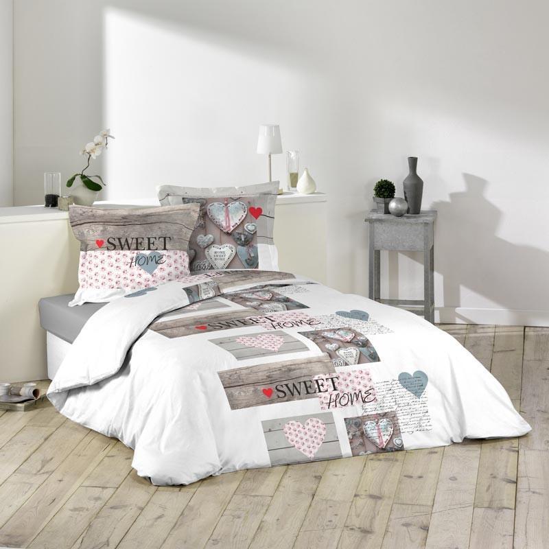 Parure de lit 3 pieces sweet home 220x240cm blanc - paris prix 3d1503eb45c6
