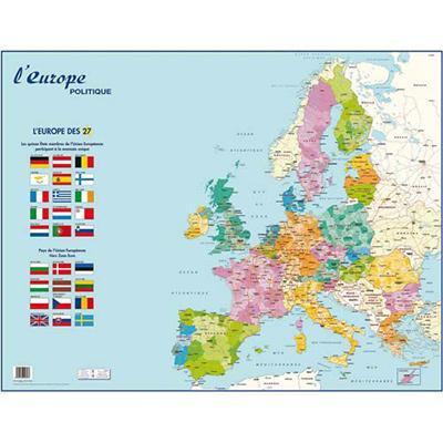 CARTE MURALE EUROPE POLITIQUE - SURFACE PELLICULÉE - 66 X 90 CM- 4 OILLETS POUR SUSPENSION