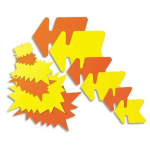 Agipa paquet de 25 étiquettes pour point de vente en carton fluo jaune/orange forme flèche 16 x 24 cm