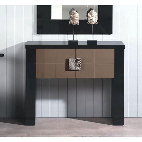 console laqu e noir et portes moka 100x29x82 l unit comparer les prix de console. Black Bedroom Furniture Sets. Home Design Ideas