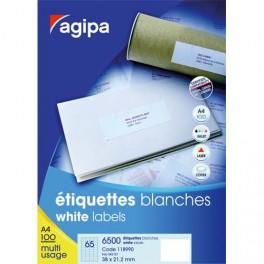 AGIPA BOÎTE DE 600 ÉTIQUETTES BLANCHES 99,1 X 93,3 IMPRESSION LASER COPIEUR ET JET D'ENCRE 118988