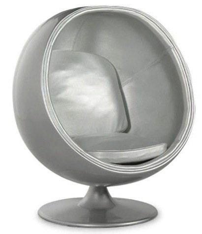 fauteuil boule ball chair coque silver interieur silver design 70 39 s. Black Bedroom Furniture Sets. Home Design Ideas