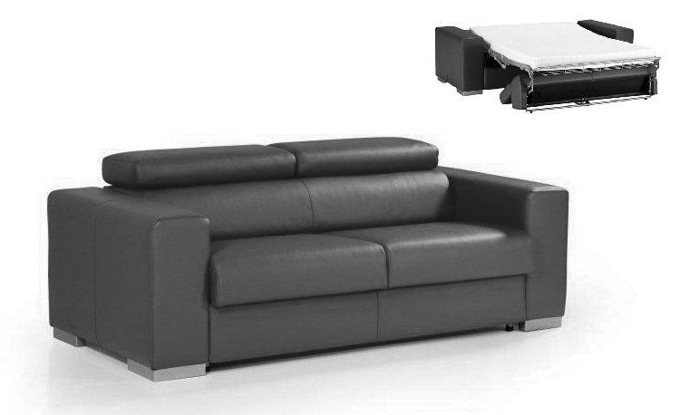 piece unique canape rapido master cuir eco gris matelas 12 cm couchage quotidien 140 cm. Black Bedroom Furniture Sets. Home Design Ideas