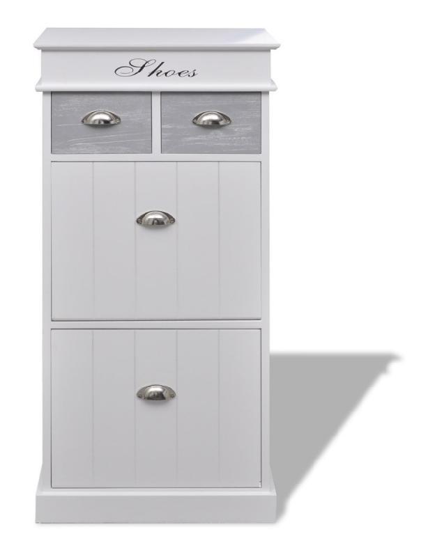 meuble chaussure avec tiroirs gris et blanc helloshop26 comparer les prix de meuble. Black Bedroom Furniture Sets. Home Design Ideas