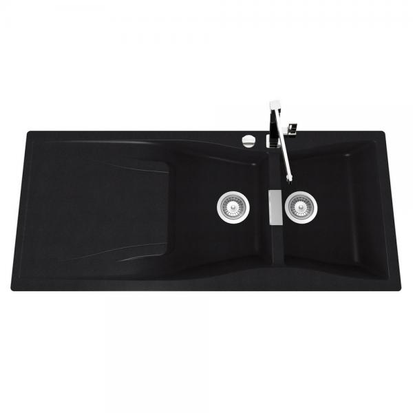 evier de cuisine en cristadur 2 bacs gouttoir 39 waterfall 39 finition magma comparer les. Black Bedroom Furniture Sets. Home Design Ideas