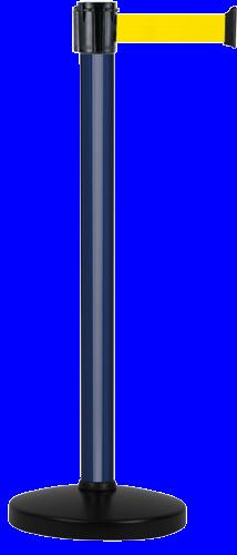 Poteau Alu Bleu laqué à sangle Jaune 3m x 50mm sur socle portable - 2010634