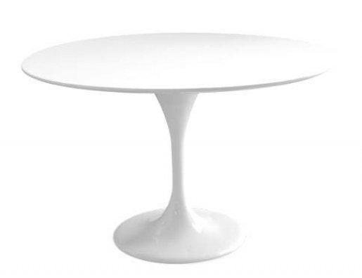 table ronde de repas design tulipe laquee blanc 120 cm. Black Bedroom Furniture Sets. Home Design Ideas
