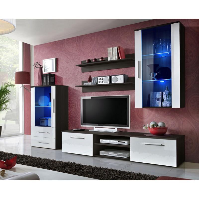 meuble tv design galino x 250cm wenge blanc paris prix. Black Bedroom Furniture Sets. Home Design Ideas