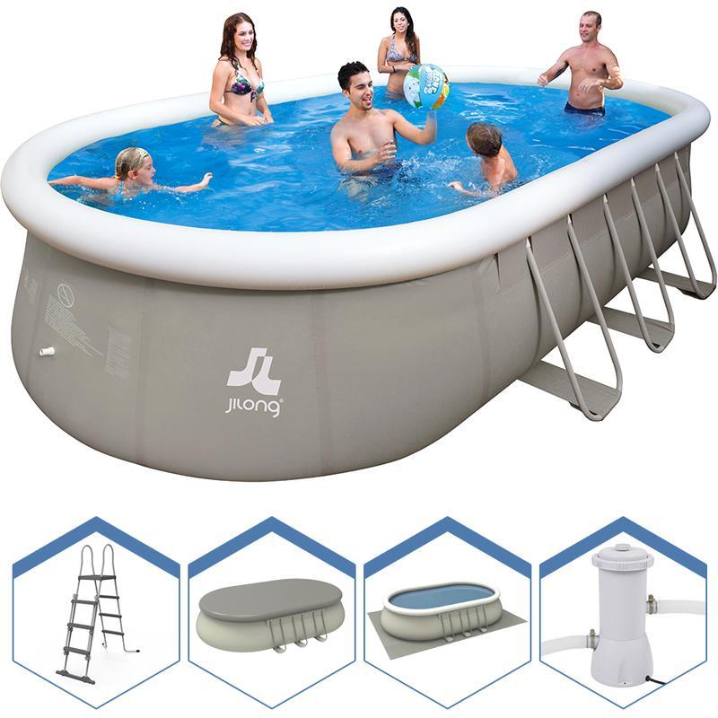 Jilong piscine ovale hors sol structure 610x360x122cm for Piscine gonflable ovale