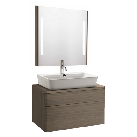 Meuble de salle de bain suspendu 60x45cm bois cendr for Meuble 2 tiroirs 60 cm woodstock bois clair