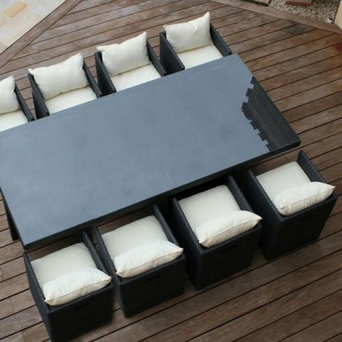 Salon de jardin résine tressée avec 8 fauteuils encastrables noir