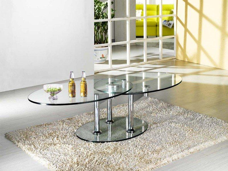 table basse design twin glass a double plateaux pivotant 3 pieds. Black Bedroom Furniture Sets. Home Design Ideas
