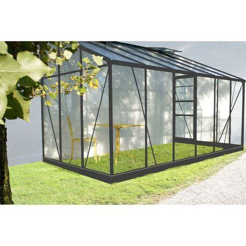 serre de jardin grise solarium 9 61m adossable avec base comparer les prix de serre de jardin. Black Bedroom Furniture Sets. Home Design Ideas