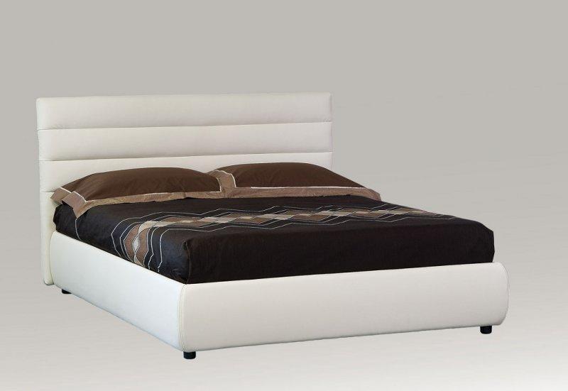 Lit coffre design elisabetha blanc couchage 2 personnes 160 200cm - Lit standard 2 personnes ...