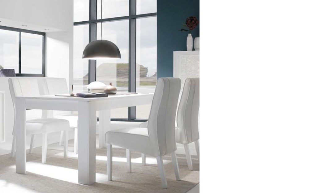 table a manger blanc laque mat design arum. Black Bedroom Furniture Sets. Home Design Ideas