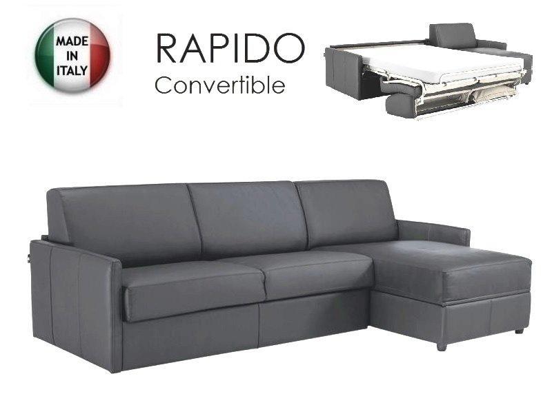 canape d 39 angle sun convertible ouverture rapido 120cm cuir eco gris. Black Bedroom Furniture Sets. Home Design Ideas