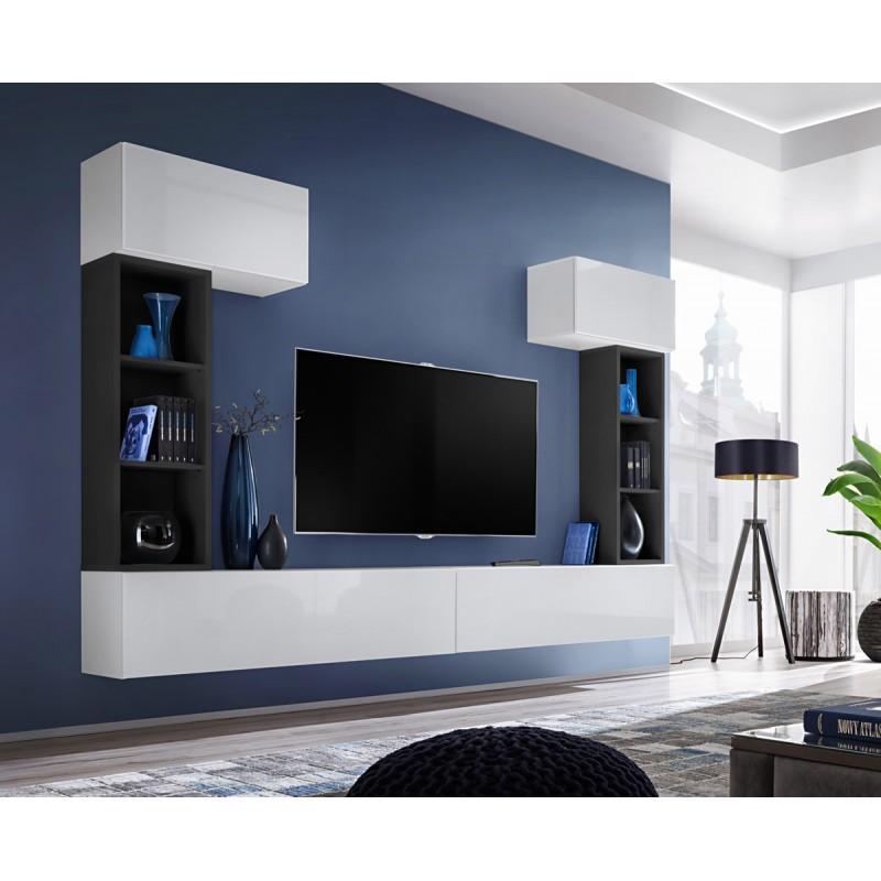 MEUBLE TV MURAL DESIGN BLOX II 280CM BLANC & NOIR - PARIS PRIX