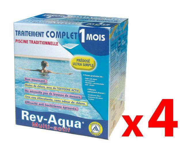 PACK 4 MOIS TRAITEMENT MAREVA REV-AQUA PISCINE 60-90M³