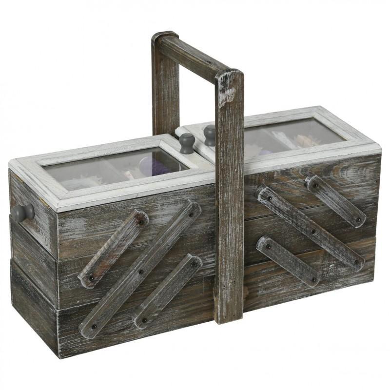 Boîte à couture escalier 43cm gris foncé - paris prix