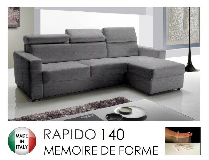 canape d 39 angle reversible rapido sidney memory matelas 140 14 190 cm memoire de forme tissu. Black Bedroom Furniture Sets. Home Design Ideas