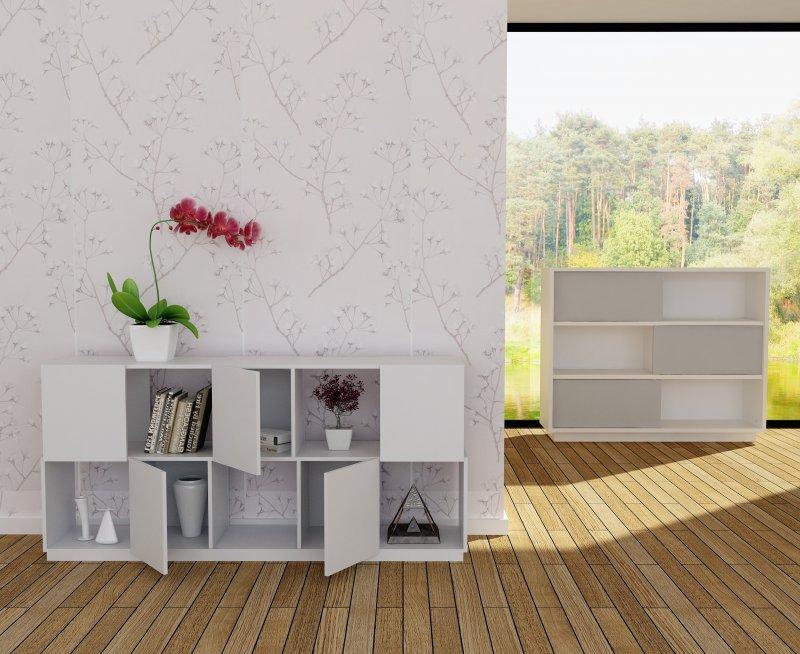branch buffet rangement laque blanc design. Black Bedroom Furniture Sets. Home Design Ideas