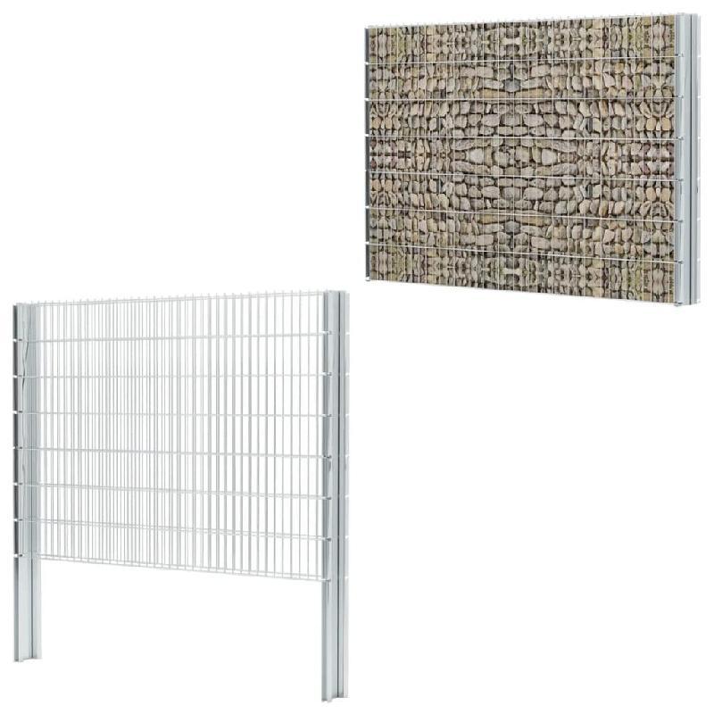 Vidaxl clôture gabion 2d acier galvanisé 2,008x1,43m 18m total argenté