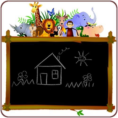 Sticker tableau noir jungle for Tableau noir pour enfant