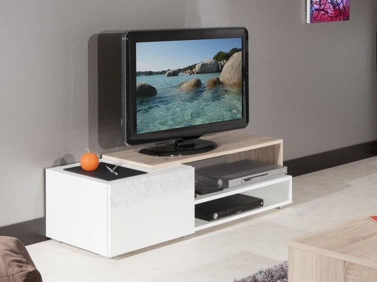 Pacific meuble tv couleur blanc laque brillant et chene for Modele meuble tv
