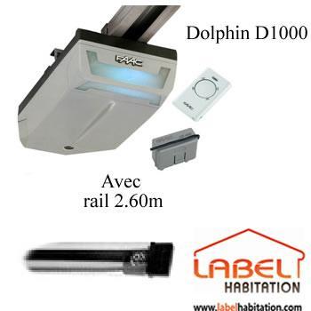 Motorisation porte de garage faac dolphin kit 1000 rail for Porte sectionnelle garage comparer les prix