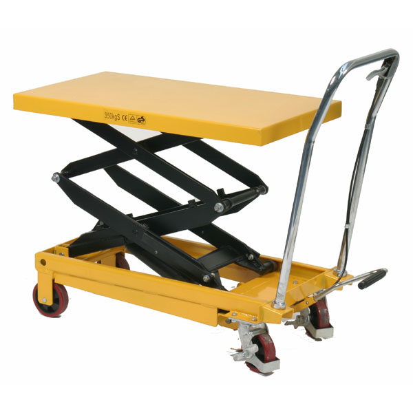 Table elevatrice double ciseaux 350kg plateau 910x500mm for Table elevatrice a ciseaux