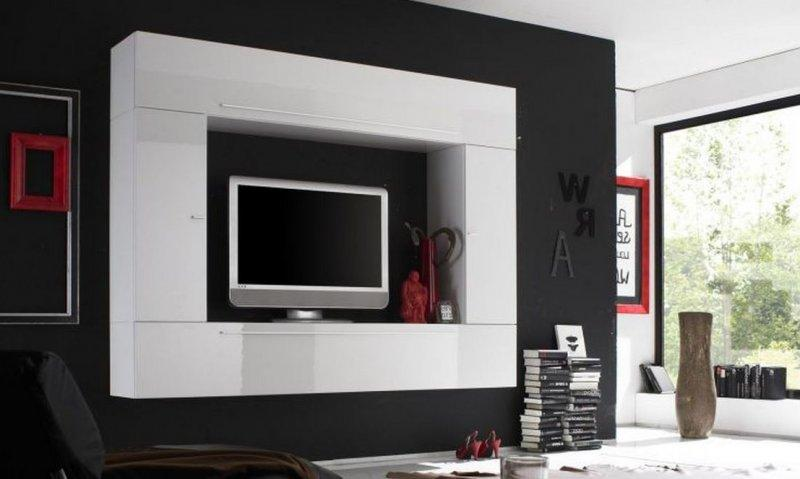 Composition murale tv design primera 5 laque blanche brillante