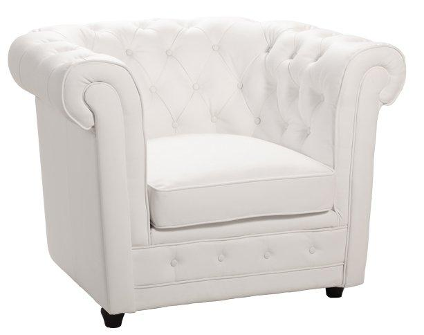 fauteuil chesterfield deluxe en cuir blanc capitonne. Black Bedroom Furniture Sets. Home Design Ideas