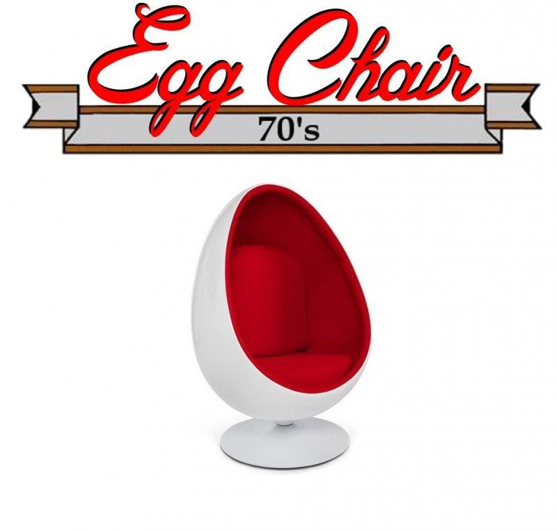 fauteuil pivotant oeuf egg chair coque blanche interieur velours rouge design 70 39 s. Black Bedroom Furniture Sets. Home Design Ideas