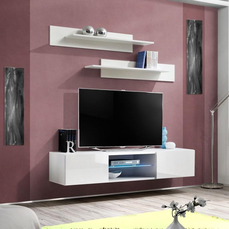 f3fc487a87968 Meuble tv mural design fly iii 160cm blanc - paris prix