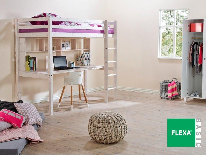 lit mezzanine flexa avec bureau et tag res en pin vernis. Black Bedroom Furniture Sets. Home Design Ideas