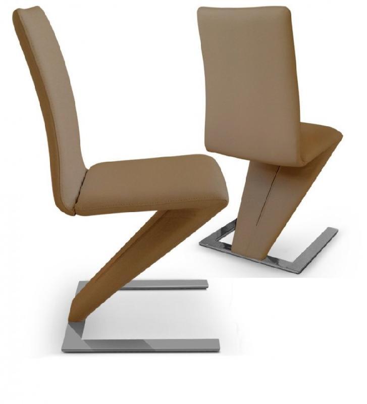 Lot de 2 chaises de salon zaz taupe for Chaise de salon cuir
