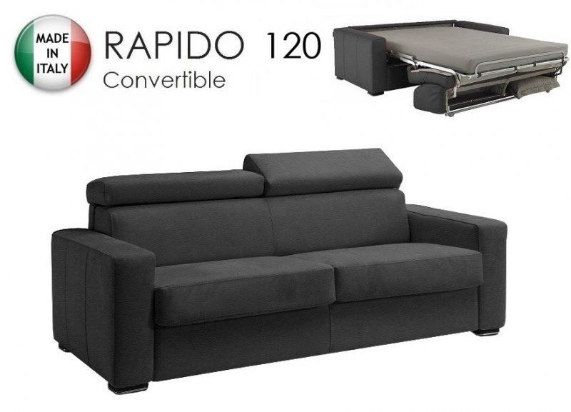 canape rapido sidney deluxe cuir vachette gris matelas. Black Bedroom Furniture Sets. Home Design Ideas