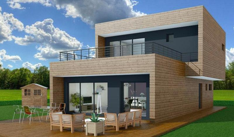 Maisons a ossature en bois tous les fournisseurs habitat bois habitation bois batiment - Maison ossature bois contemporaine toit plat ...