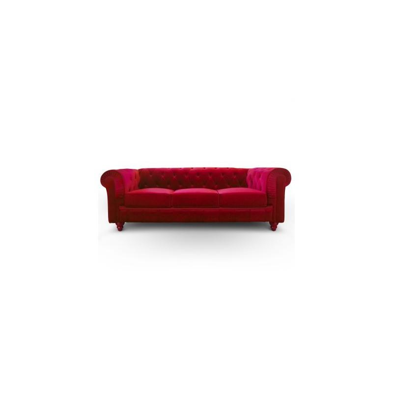 canape chesterfield 3 places en velours rouge. Black Bedroom Furniture Sets. Home Design Ideas