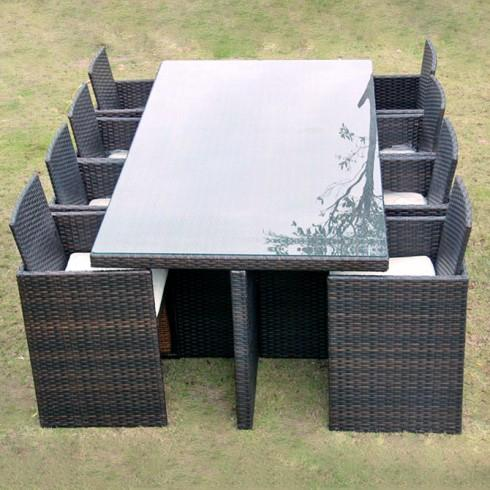 ensemble de jardin encastrable 8 places avec dossiers. Black Bedroom Furniture Sets. Home Design Ideas