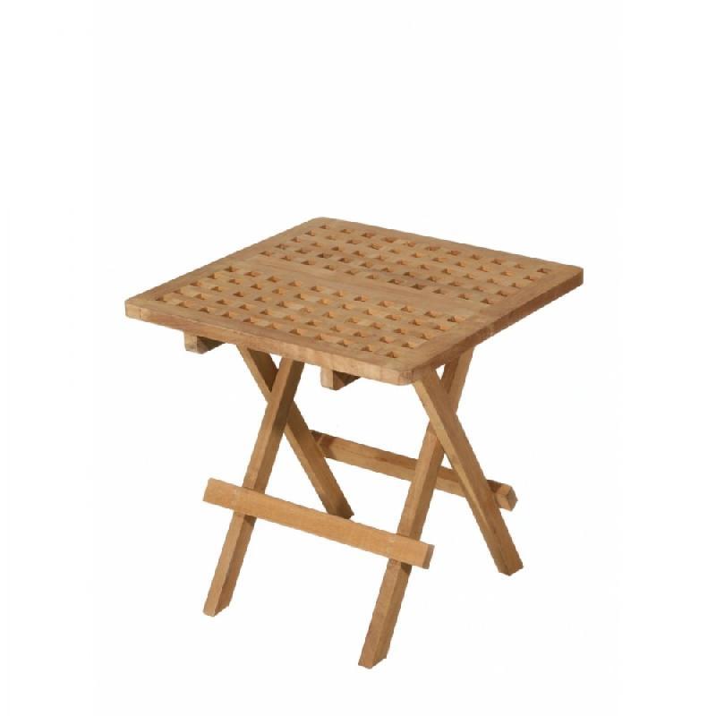 Table basse de jardin carree pique nique en teck
