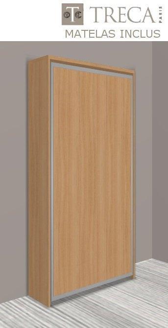 armoire lit escamotable cronos cerisier matelas treca inclus couchage 90 22 190 cm. Black Bedroom Furniture Sets. Home Design Ideas